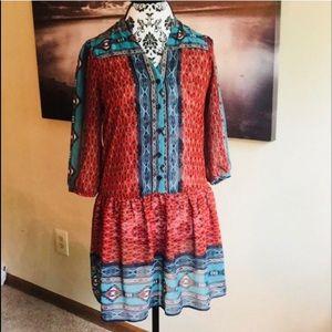 NWT BeBop Red and Blue Boho Dress/Tunic